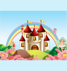fairy at medieval castle vector image