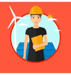 Female worker of solar power plant and wind farm vector