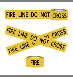 Fire line do not cross yellow caution tape vector