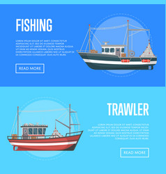 Fishing company flyers with trawlers vector