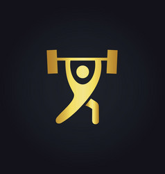Fitness barbel gold logo vector