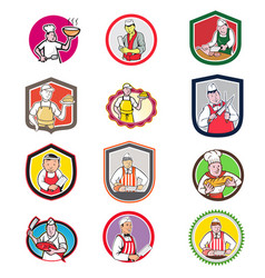 Food worker icon cartoon set vector