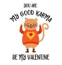 funny valentines day card with cat vector image