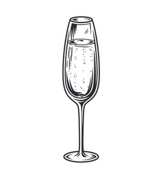 glass champagne with bubbles monochrome vector image