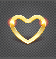 golden shiny heart shape isolated on transparency vector image