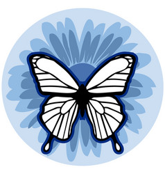 graphic element flower with butterfly vector image