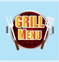 grill menu grill top view background image vector image