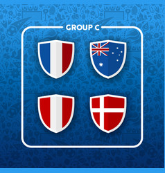 Group c russian soccer event country flag list vector
