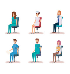 Group of doctors with nurse sitting in chairs vector