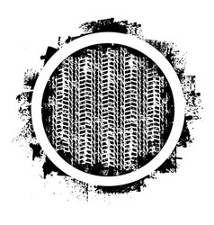 grunge tire track and circle vector image