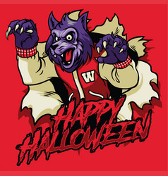 Halloween design of werewolf vector