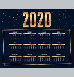Happy new year 2020 premium calendar design vector