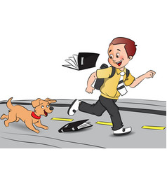 Happy schoolboy running with pet dog books falling vector