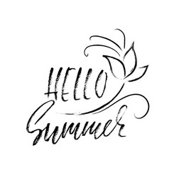 Hello summer hand drawn lettering isolated on vector