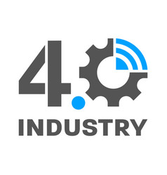 Industry 40 smart factory concept logo gear and vector