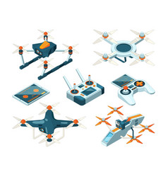 Isometric 3d pictures of drone copters vector