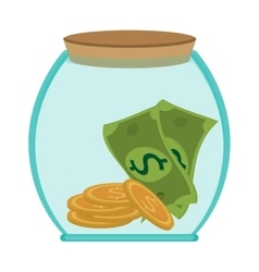 Jar money bill coin business save vector