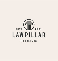 Law pillar hipster vintage logo icon vector
