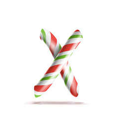 Letter x 3d realistic candy cane alphabet vector