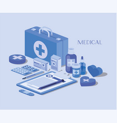 Medical kit with order in checklist and set icons vector