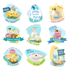 Milk products emblems set vector