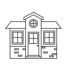 Monochrome silhouette of small house facade vector