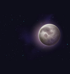 Moon background realistic night starry sky with vector