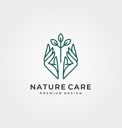 Nature tree care logo design line art hand and vector