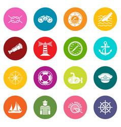 nautical icons set colorful circles vector image