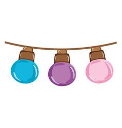 Nice bulbs hangings decoration style vector