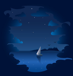 night clouds and sea background vector image