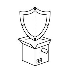 packing box carton with shield vector image