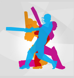 Passionate professional cricket athlete in action vector