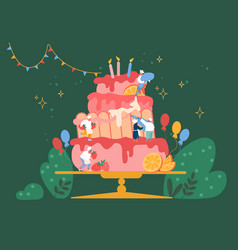 people cook festive cake with cream and vector image
