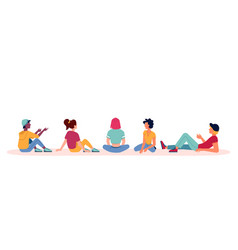 People sitting flat icons talk and discuss backs vector