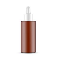 Plastic frosted amber dropper bottle vector