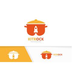 pot and rocket logo combination kitchen vector image