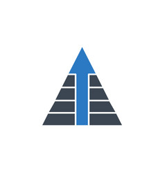 Pyramid with arrow related glyph icon vector