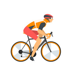 Racing cyclist character male athlete riding bike vector