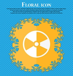 radioactive icon Floral flat design on a blue vector image