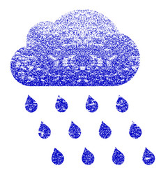 Rain cloud grunge textured icon vector