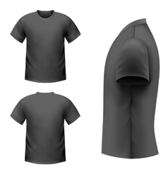 Realistic black t-shirt vector image