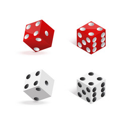 Red and white dices isolated on white background vector