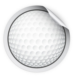 round sticker with golf ball vector image