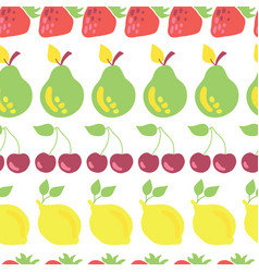 Row fruits seamless pattern white vector