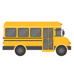 School bus isolated on white background flat vector