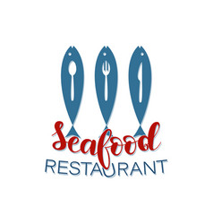 Seafood restaurant lettering vector