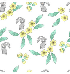 seamless pattern with a hare and spring flowers vector image