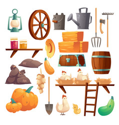 set barn stuff chicken and chicks farm things vector image
