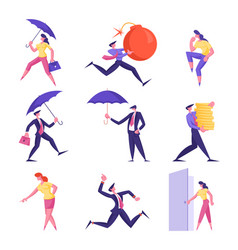 set business people holding umbrella huge vector image